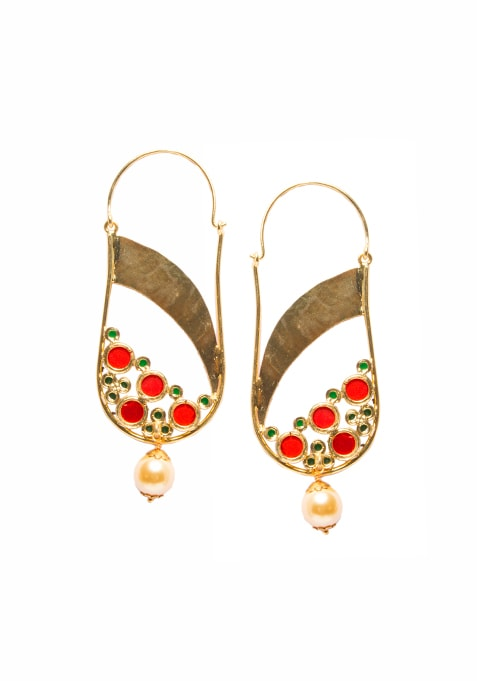 Gold Red Floral Drop Earrings