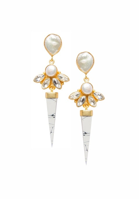 White Pearl Tribal Drop Earrings