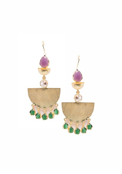 Gold Crescent Earrings with Green Stones