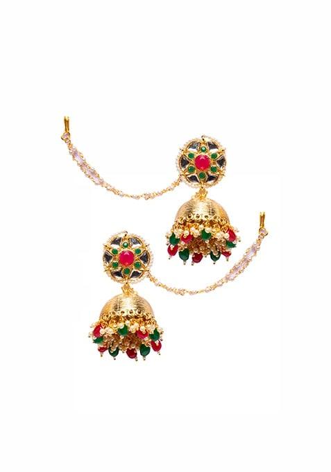 Multicolor Stone Jhumka Earrings