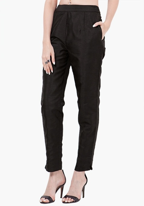 Silk Cigarette Pants - Black