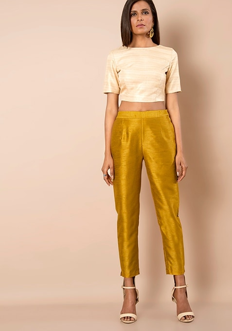 Mustard Silk Cigarette Pants