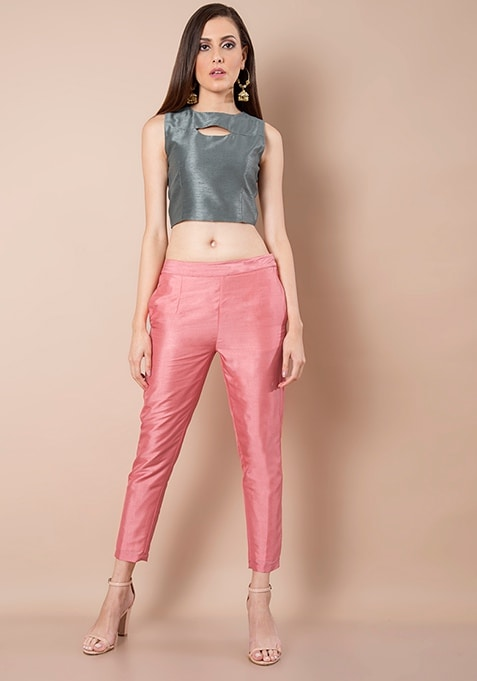 Coral Silk Cigarette Pants