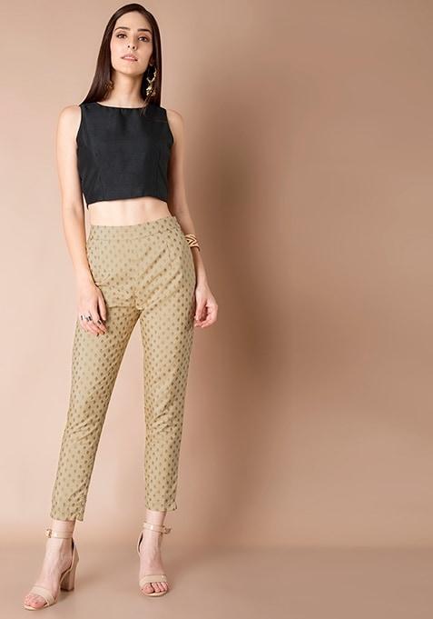 Brocade Silk Cigarette Pants - Beige