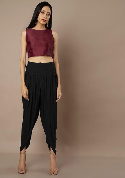 Black Petal Cut Dhoti Pants