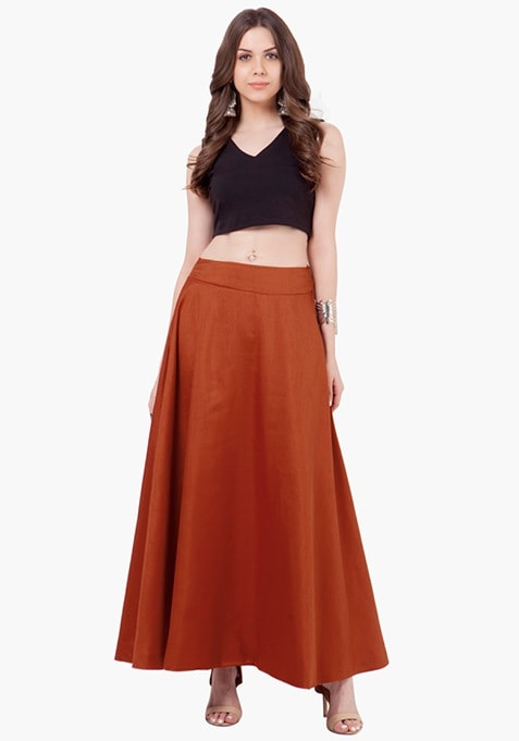 Silk Lush Maxi Skirt - Rust