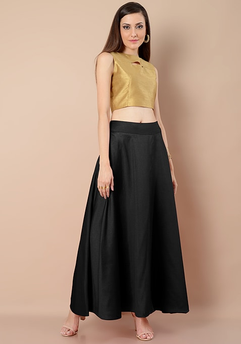 Raw Silk Maxi Skirt - Black