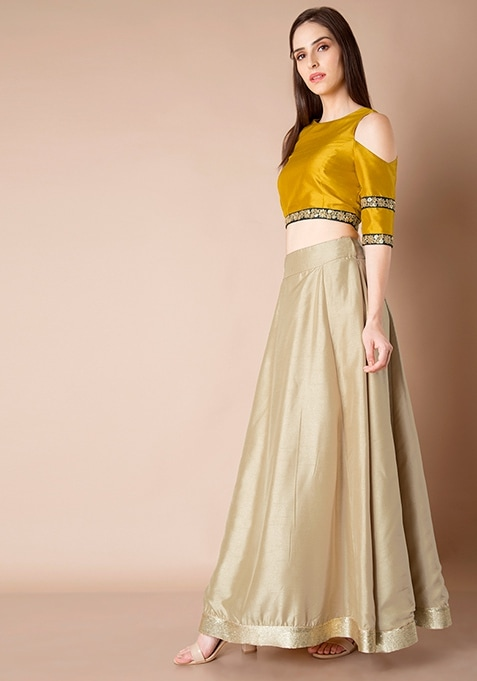Sequin Border Silk Maxi Skirt - Beige