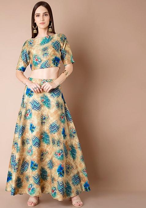 Silk Maxi Skirt - Blue Aztec