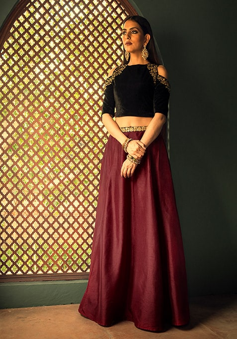 Embroidered Silk Maxi Skirt - Maroon