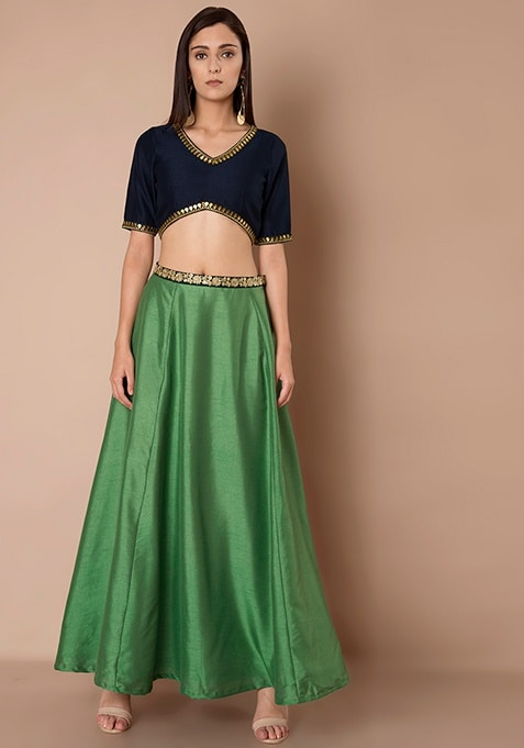 Embroidered Silk Maxi Skirt - Green