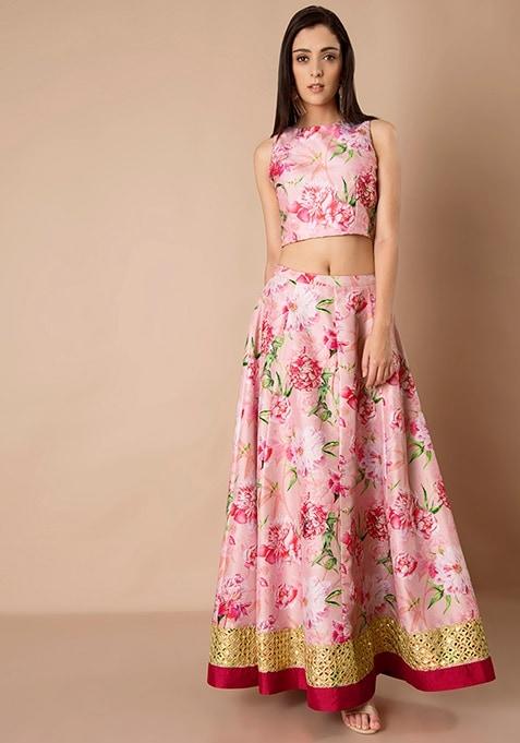 Gold Hem Silk Maxi Skirt - Pink Floral