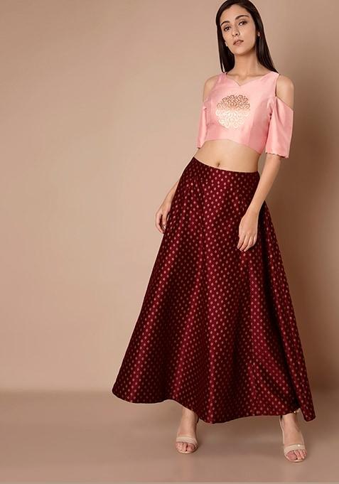 Foil Print Maroon Silk Skirt