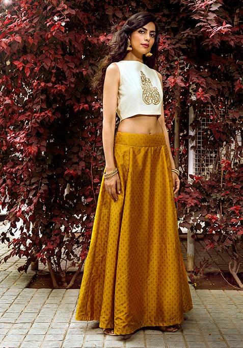 Silk Maxi Skirt - Mustard Brocade