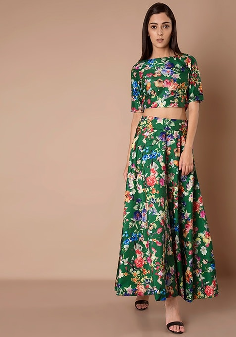 Silk Maxi Skirt - Green Floral