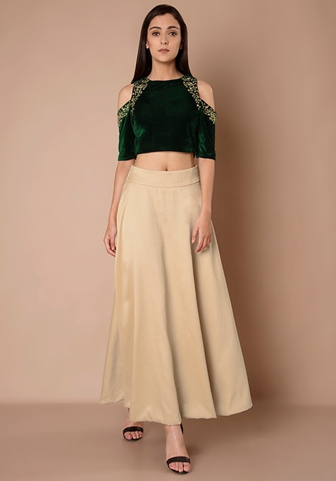 Silk Maxi Skirt - Dull Beige