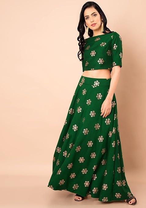 Green Foil Print Silk Maxi Skirt