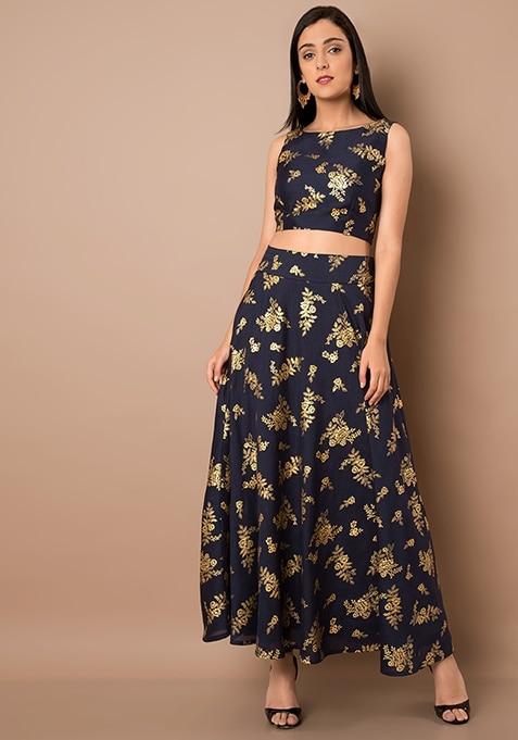Navy Floral Foil Print Silk Maxi Skirt