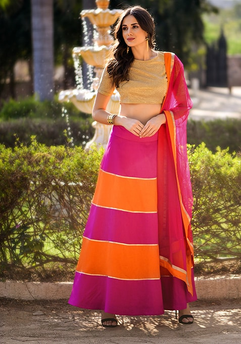 Orange Pink Color Block Silk Maxi Skirt
