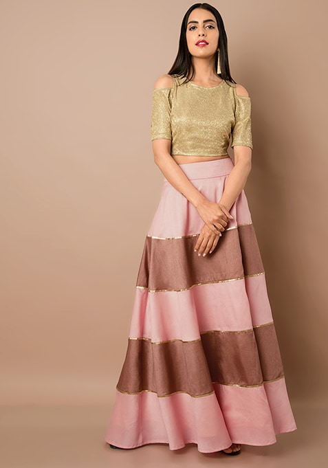 Peach And Rose Tiered Silk Maxi Skirt