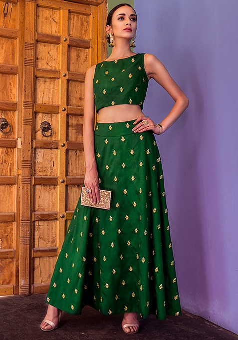 Green Gold Embroidered Silk Maxi Skirt