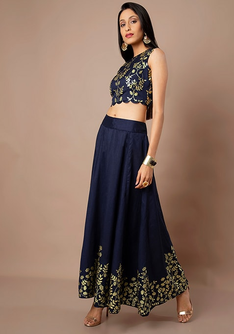 Navy Border Foil Maxi Skirt