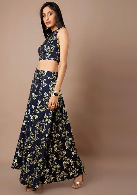 Navy Leaf Print Foil Silk Maxi Skirt