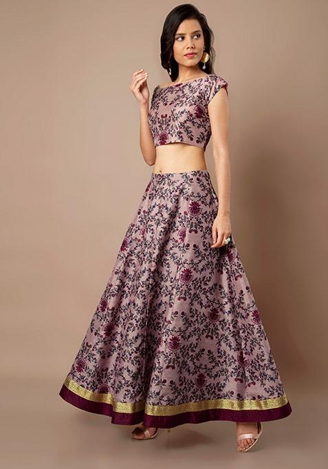 Pink Baroque Floral Silk Maxi Skirt
