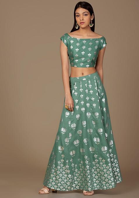 Jade Lotus Foil Maxi Skirt