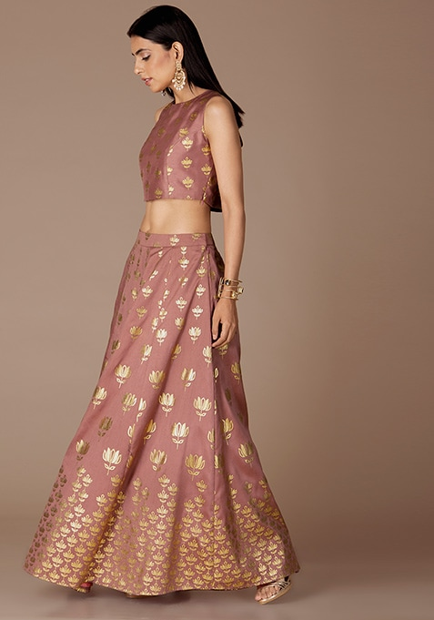 Dusty Pink Lotus Foil Maxi Skirt