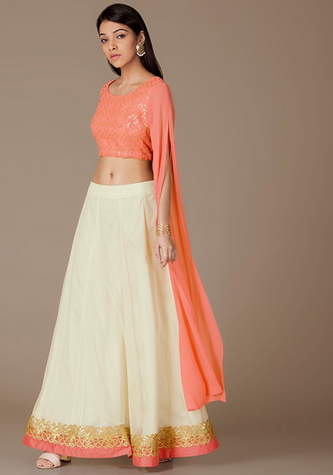 Ivory Coral Border Net Maxi Skirt