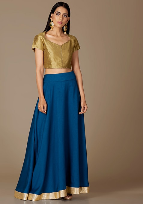 Sapphire Blue Gold Border Maxi Skirt