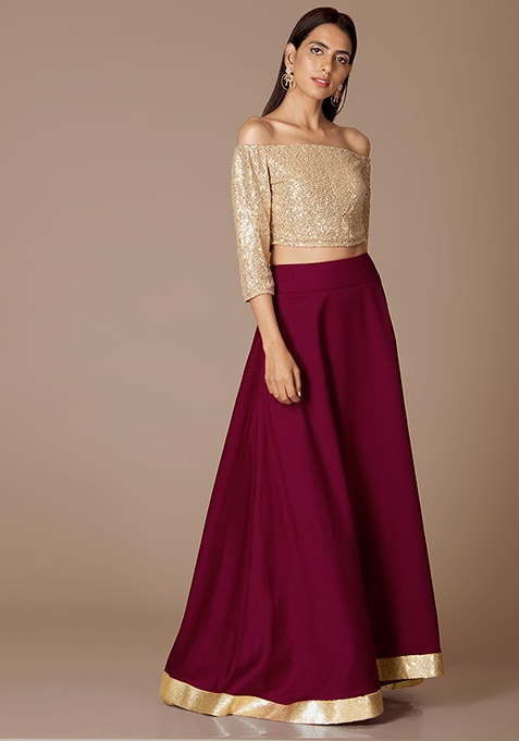 Wine Gold Border Solid Maxi Skirt