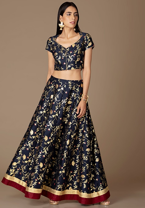 Navy Gold Floral Foil Maxi Skirt