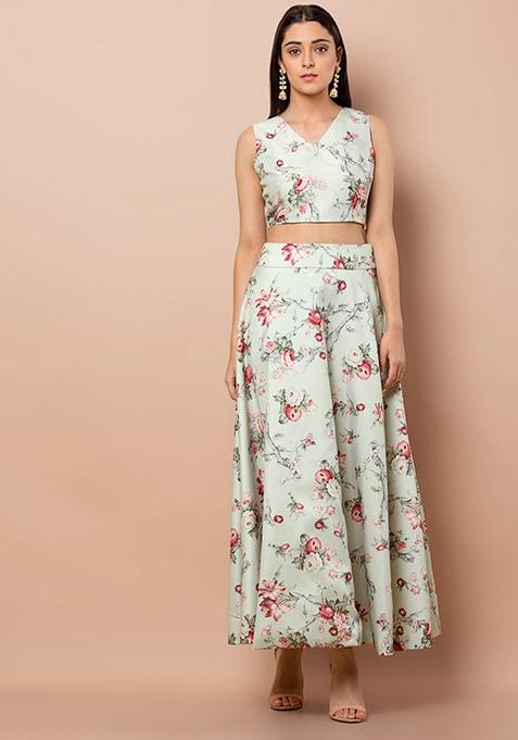 Pastel Blue Floral Maxi Skirt