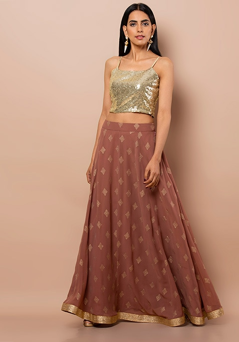 Rusty Rose Diamond Foil Maxi Skirt