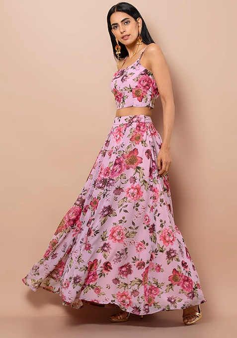 Pink Wine Floral Maxi Skirt With Can Can
