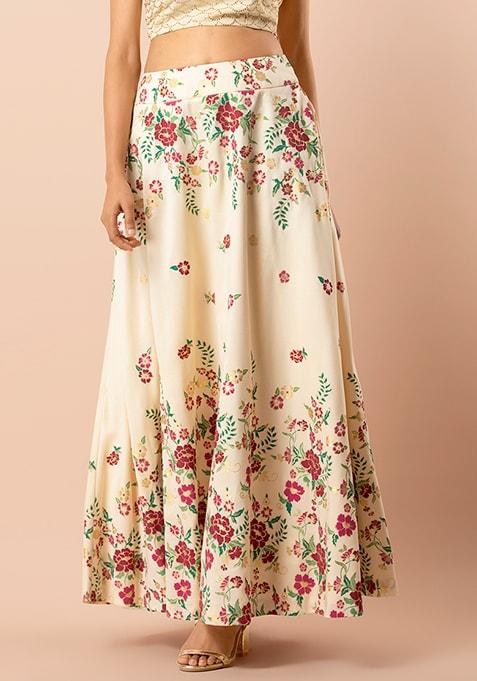 Women Printed Flared Pink Skirt gypsy skirts,Elastic maxi skirts Casual Long Maxi Skirt ID0825 Maxi Indian Skirt