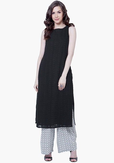 Embroidered Lace Tunic - Black
