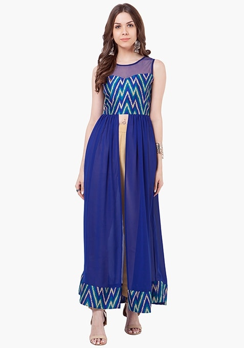 Sheer Mesh Maxi Tunic - Chevron