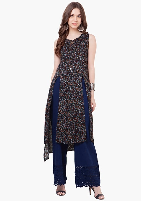 Tie-Up High-Low Tunic - Floral