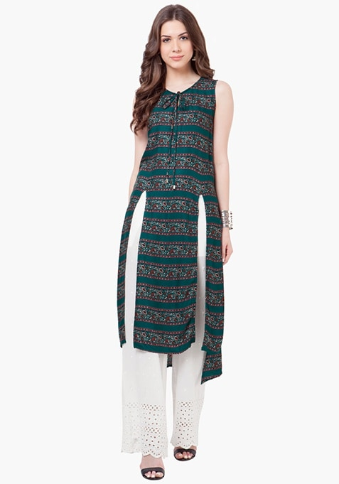 Tie-Up High-Low Tunic - Teal