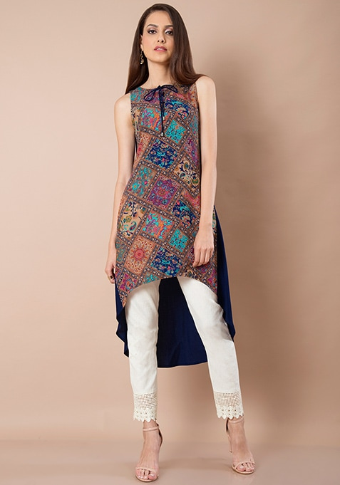 Tie-Up High Low Tunic - Navy