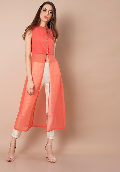 Slit Maxi Tunic - Coral