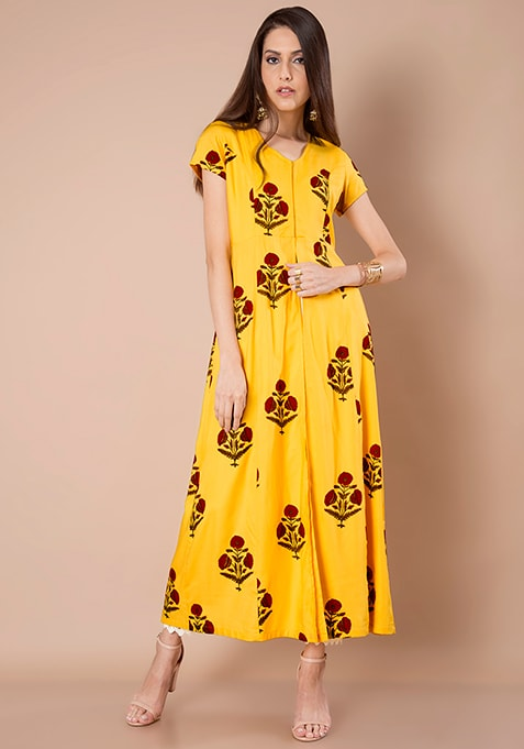 Yellow Floral Maxi Jacket