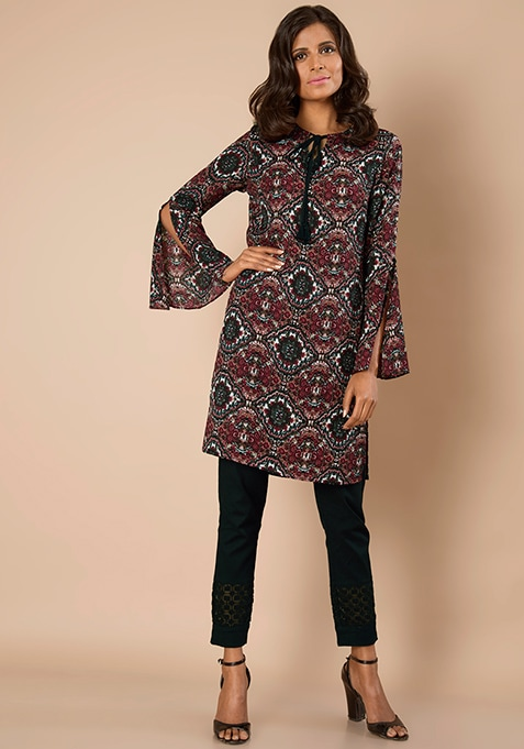 Slit Bell Sleeves Tunic - Baroque