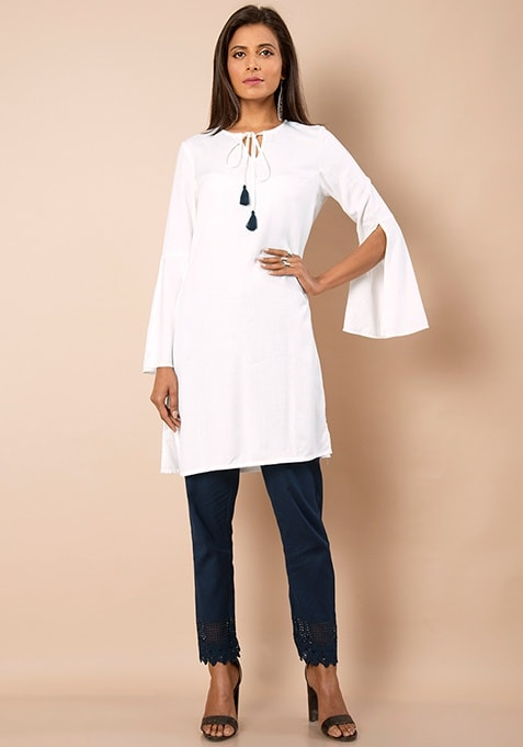 Slit Bell Sleeves Tunic - Off White