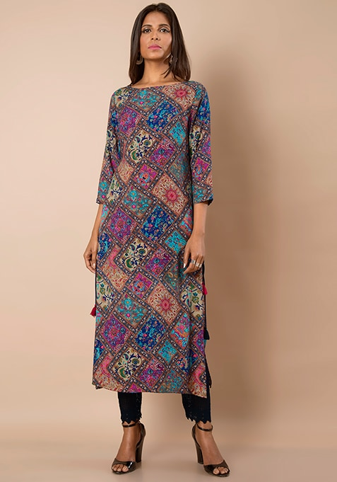 Side Tie Up Tunic - Tile Print