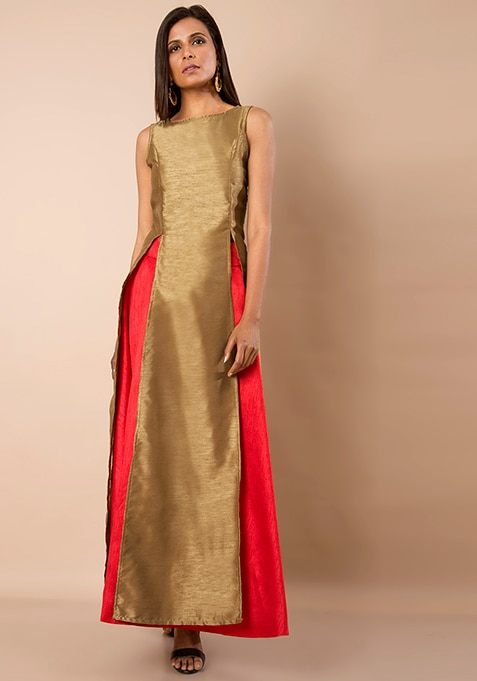 Double Slit Silk Tunic - Gold
