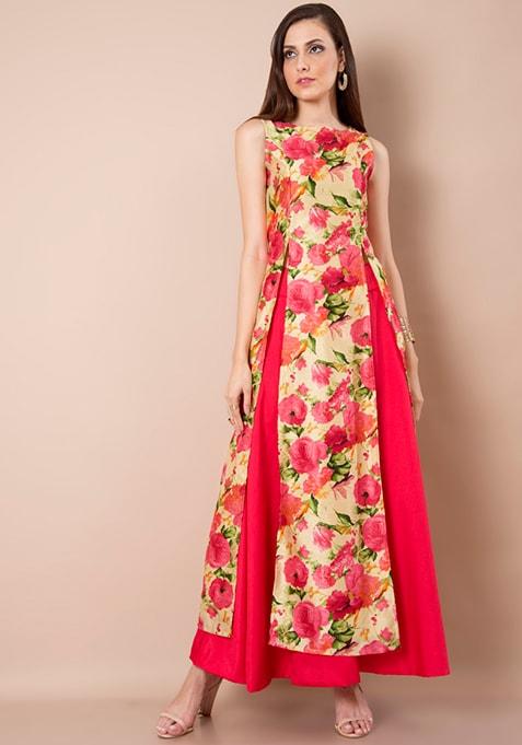 Double Slit Silk Tunic - Beige Floral